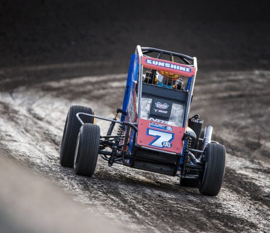 Tyler Courtney picked up his fourth USAC midget victory of the season Friday at Triple-City Speedway. (Brad Plant photo)