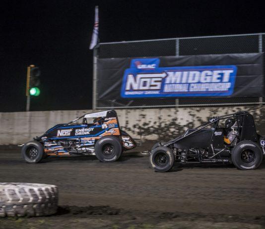 Chris Windom (5) leads Carson Short Friday night at Tri-City Speedway. (Brad Plant photo)