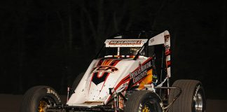 Thomas Meseraull en route to victory Friday night at Gas City I-69 Speedway. (Bill Miller Photo)