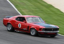 Bill Elliott on his way to victory in Friday's Historic Sportscar Racing event at Barber Motorsports Park.