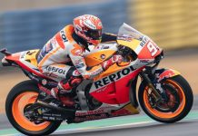 Marc Marquez en route to the pole Saturday in France. (Honda Photo)