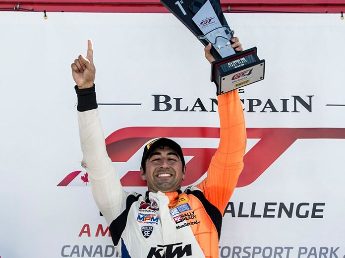 Nicolai Elghanayan celebrates after Saturday's victory at Canadian Tire Motorsports Park.