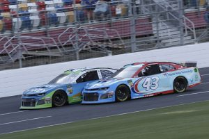 Bubba Wallace (43) and Kyle Larson during the Monster Energy Open. (HHP/Harold Hinson)