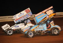 Lance Dewease (69k) battles Donny Schatz at Williams Grove Speedway. (Julia Johnson photo)