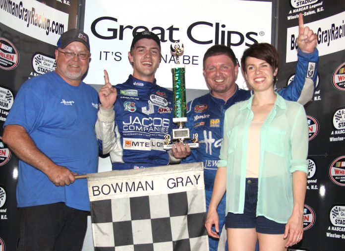 Tim Brown and Carson Ware in victory lane at Bowman Gray Stadium.