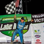 Scott James in victory lane Saturday at Brownstown Speedway. (Jim Denhamer Photo)