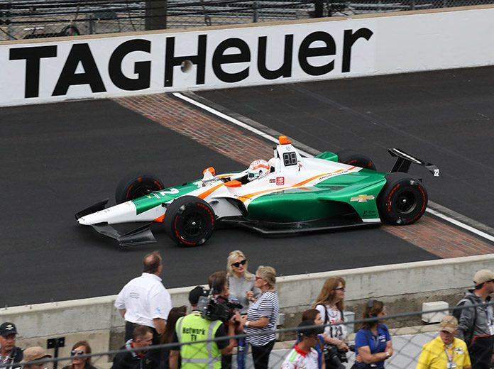 Kyle Kaiser bumped his way into the Indianapolis 500 Sunday at the expense of Fernando Alonso and McLaren. (IndyCar Photo)