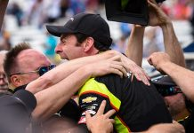 Simon Pagenaud celebrates with his team after earning the pole for the Indianapolis 500. (IndyCar Photo)