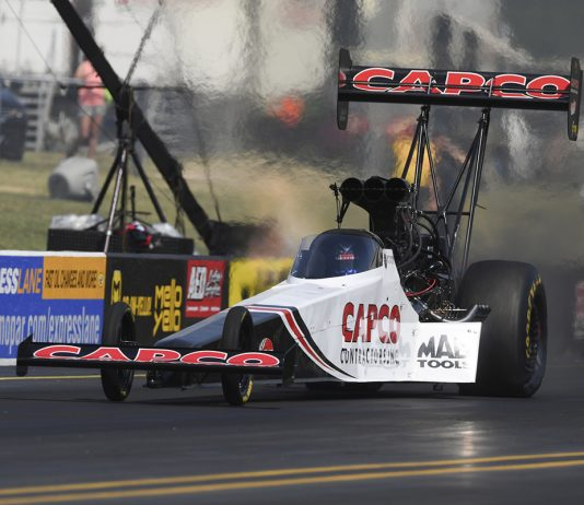 Steve Torrence Sunday at Virginia Motorsports Park. (NHRA Photo)