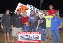 Tyler Blank in victory lane at Double-X Speedway.