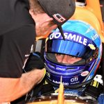 Fernando Alonso sits in his car Sunday at Indianapolis Motor Speedway. (Al Steinberg photo)