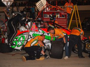 Pit stops are a vital part of the Little 500 at Anderson Speedway. (David Sink Photo)