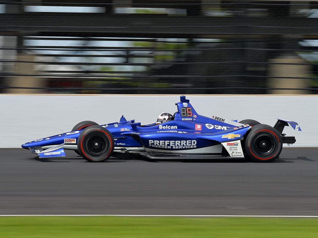 Ed Carpenter at speed at Indianapolis Motor Speedway. (Dave Heithaus Photo)