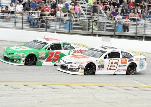 Teammates Christian Eckes (15) and Michael Self battle for position during Sunday's ARCA Menards Series race at Toledo Speedway. (Frank Smith Photo)