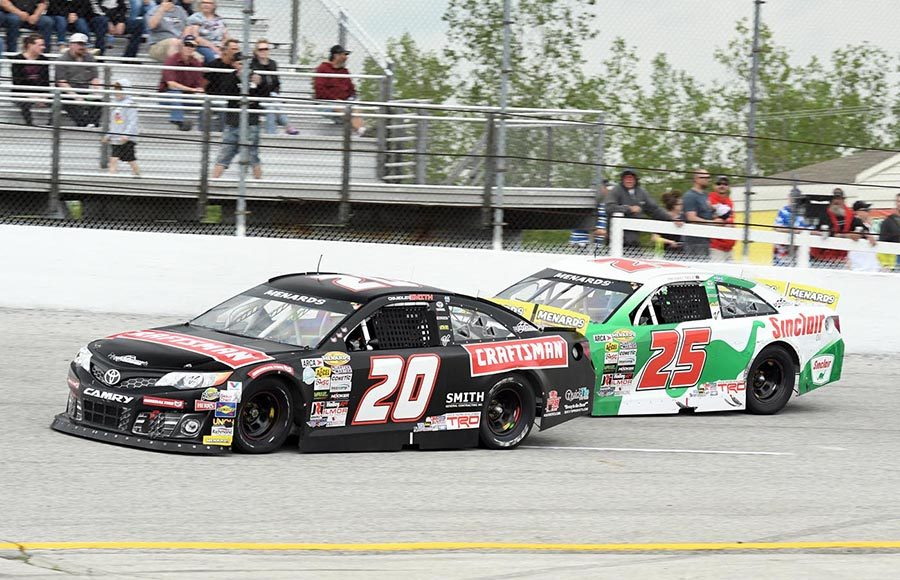 Chandler Smith (20) races ahead of Michael Self during Sunday's ARCA Menards Series race at Toledo Speedway. (Frank Smith Photo)