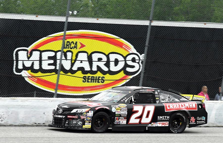 Chandler Smith en route to victory in Sunday's ARCA Menards Series event at Toledo Speedway. (Frank Smith Photo)