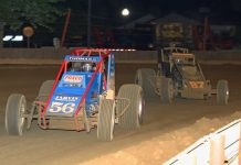 Tyler Courtney (97) chases Kevin Thomas Jr. at the Indiana State Fairgrouns. (Gordon Gill photo)