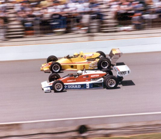 Rick Mears (9) passes Tom Sneva during the 1979 Indianapolis 500. (IMS Archives Photo)