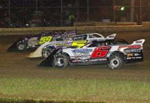Larry Bellman (59), Blake Spencer (6) and Ray Markham race three-wide during Saturday's World of Outlaws Morton Buildings Late Model Series event at Wayne County Speedway. (Todd Ridgeway Photo)