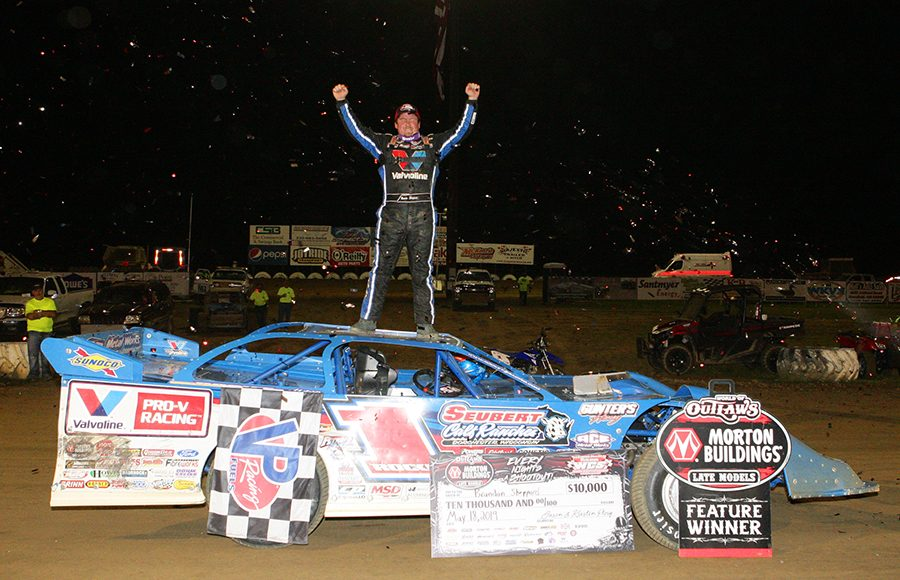Brandon Sheppard celebrates after winning Saturday's World of Outlaws Morton Buildings Late Model Series event at Wayne County Speedway. (Todd Ridgeway Photo)