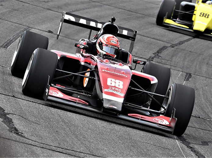 Danial Frost en route to his first Indy Pro 2000 triumph Friday afternoon. (Al Steinberg Photo)