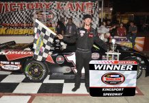 Zeke Shell in victory lane Friday at Kingsport Speedway. (Randall Perry Photo)