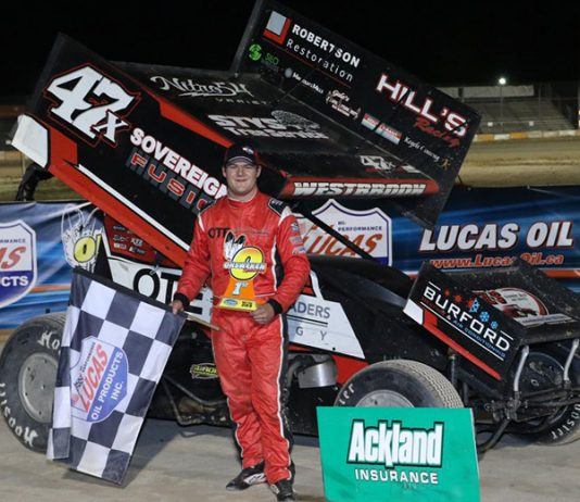 Dylan Westbrook celebrated his 23rd career 360 Sprint Car victory at Ohsweken Speedway on Friday night. (Dale Calnan/Image Factor Media Photo)