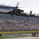 Military members are honored during prerace festivities for the Coke 600 at Charlotte Motor Speedway in Concord, NC. (HHP/Harold Hinson)