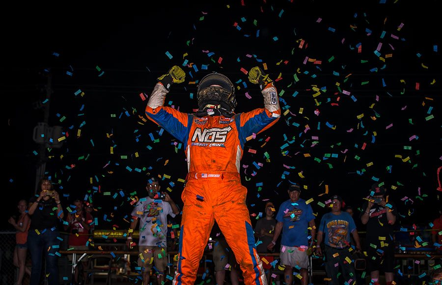 Tyler Courtney celebrates after winning the Hoosier Hundred at the Indiana State Fairgrounds Thursday night. (Dallas Breeze Photo)