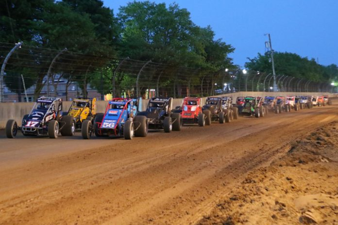 The field for Thursday's Hoosier Hundred prepares to go racing at the Indiana State Fairgrounds. (Gordon Gill Photo)