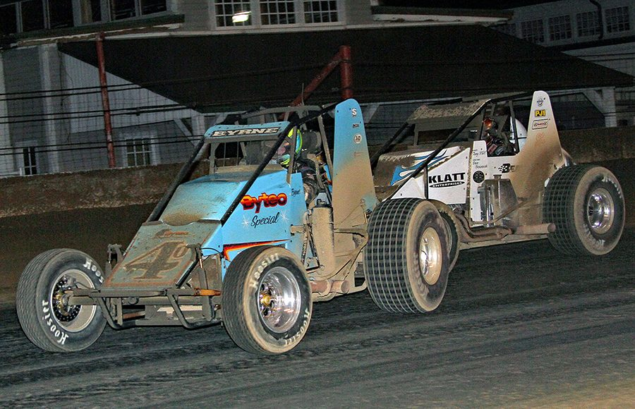 David Byrne (4) leads Brady Bacon during the Hoosier Hundred Thursday at the Indiana State Fairgrounds. (Jim Denhamer Photo)