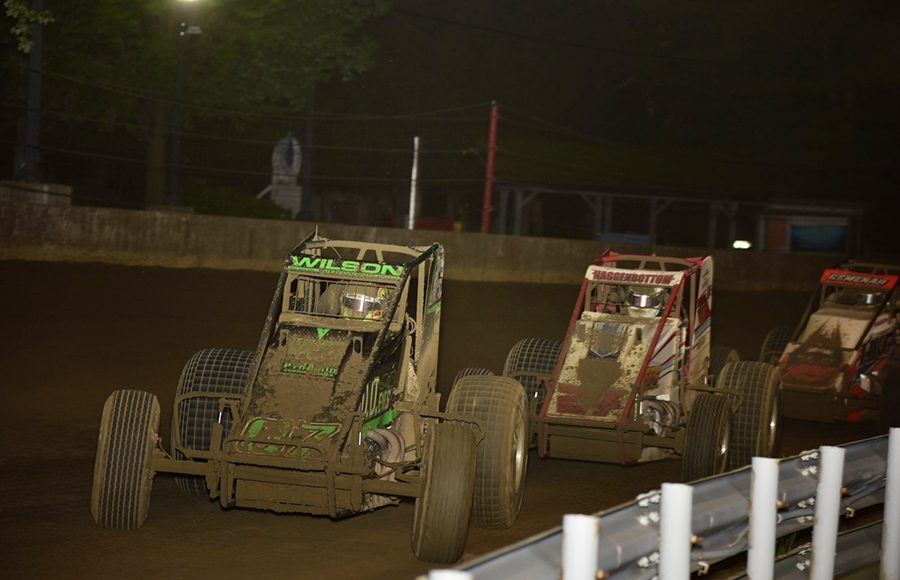 Jacob Wilson (07) leads a line of cars during Thursday's Hoosier Hundred at the Indiana State Fairgrounds. (Mark Funderburk Photo)