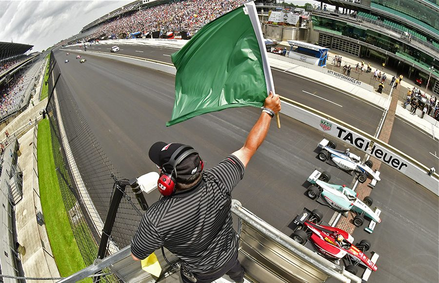 The field takes the green flag to start the Freedom 100 Friday at Indianapolis Motor Speedway. (IndyCar Photo)