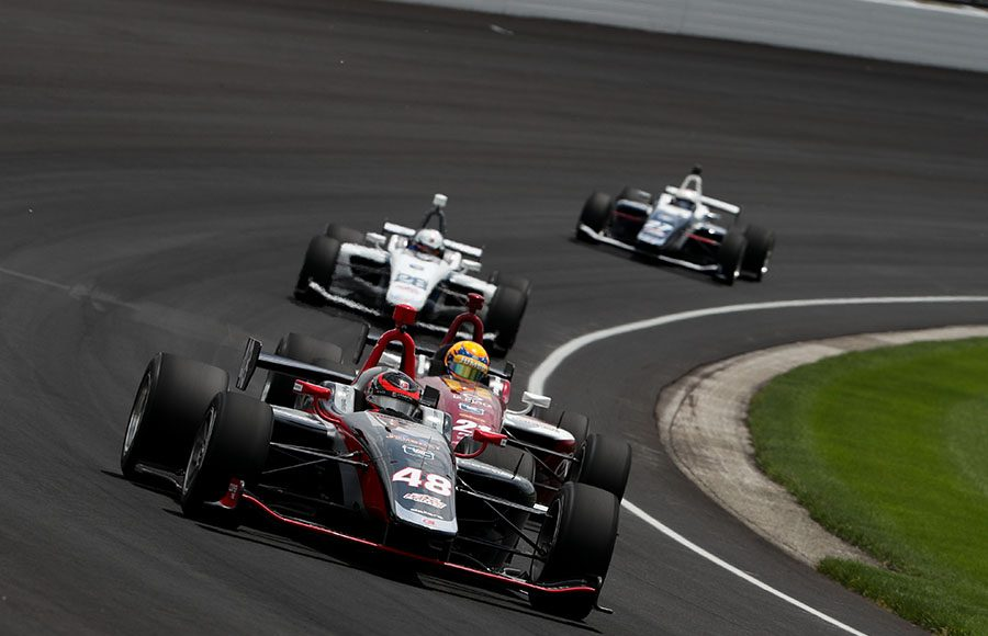 Ryan Norman (48) leads during Friday's Freedom 100 at Indianapolis Motor Speedway. (IndyCar Photo)