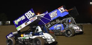 D.J. Netto (88n) and Shane Golobic during the Jimmy Sills Classic at the Stockton Dirt Track. (Joe Shivak photo)