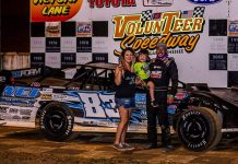 Jensen Ford in victory lane Saturday night at Volunteer Speedway.