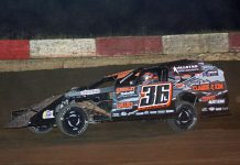 Jamie Lomax won the modified feature Saturday at Shadyhill Speedway. (Stan Kalwasinski photo)