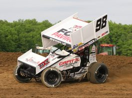 Chad Boespflug bolted a wing on his sprint car to compete with the Ollie's Bargain Outlet Circuit of Champions Friday at Attica Raceway Park. (Todd Ridgeway Photo)