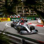 Lewis Hamilton leads Max Verstappen during Sunday's Monaco Grand Prix. (Mercedes Photo)