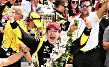 Simon Pagenaud in victory lane at the Indianapolis 500.