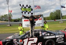 Derek Griffith erek Griffith takes a bow after winning the PASS Super Late Model main event Sunday at Thunder Road Int'l Speedbowl. (Alan Ward Photo)