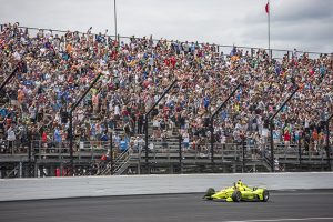 Simon Pagenaud salutes the fans after winning the 103rd Indianapolis 500. (Brad Plant Photo)