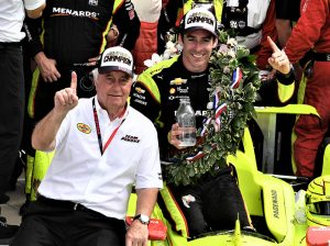 Team owner Roger Penske poses with Simon Pagenaud after winning the 103rd Indianapolis 500. (Al Steinberg Photo)