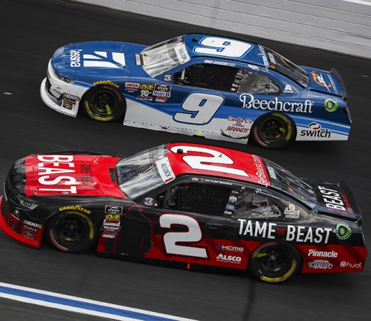 Tyler Reddick (2) races alongside Noah Gragson during Saturday's NASCAR Xfinity Series event at Charlotte Motor Speedway. (HHP/Barry Cantrell Photo)