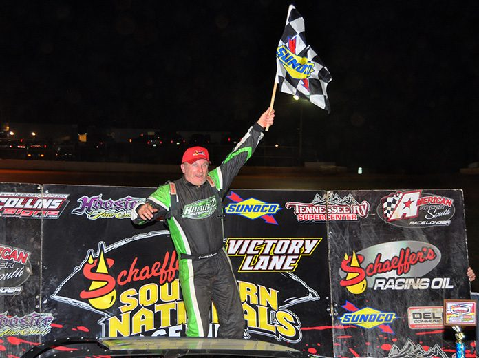 Jimmy Owens celebrates after winning Monday's Scott Sexton Memorial at 411 Motor Speedway. (Michael Moats Photo)