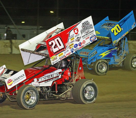 Greg Wilson (w20) races ahead of Spencer Bayston during Sunday's Ollie's Bargain Outlet All Star Circuit of Champions event at Fremont Speedway. (Todd Ridgeway Photo)