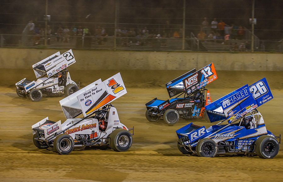 Hunter Schuerenberg (G1), Carson Macedo (2), Sheldon Haudenschild (17) and Cory Eliason race for position during Monday's World of Outlaws NOS Energy Drink Sprint Car Series event at Lawrenceburg Speedway. (Dallas Breeze Photo)