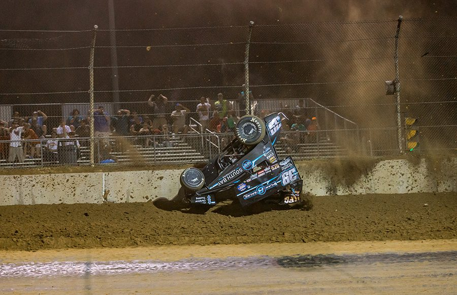 Christopher Bell flips his No. 39 sprint car after battling Kyle Larson for the race lead during Monday's World of Outlaws NOS Energy Drink Sprint Car Series event at Lawrenceburg Speedway. (Dallas Breeze Photo)