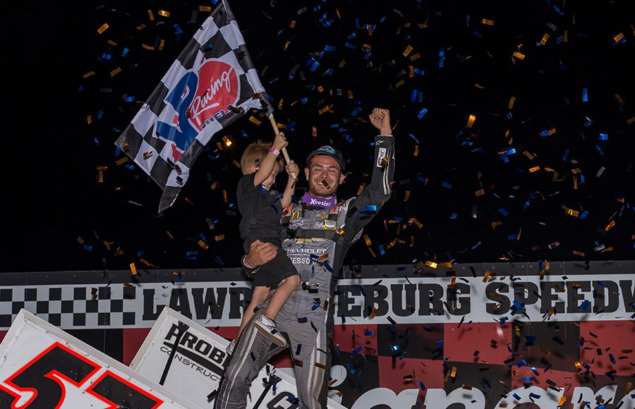 Kyle Larson celebrates after winning Monday's World of Outlaws NOS Energy Drink Sprint Car Series event at Lawrenceburg Speedway. (Dallas Breeze Photo)