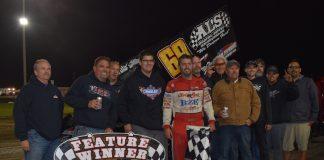 Bud Kaeding in victory lane at Ocean Speedway. (Joe Shivak photo)